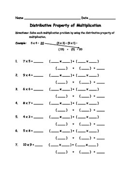 Distributive Property of Multiplication Worksheets (Common