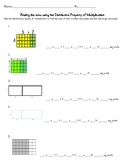 Distributive Property of Multiplication to find the area of a shape