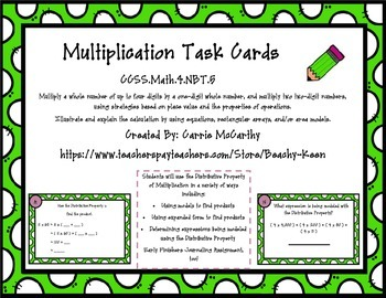 Distributive Property of Multiplication with Models Task Cards (4.NBT.5)