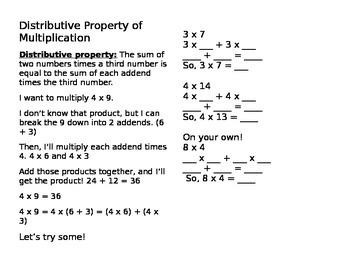 Distributive Property of Multiplicaton