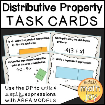 Distributive Property with Area Models Task Cards