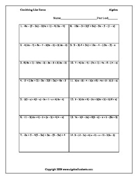 Combining Like Terms with Distributive Property Challenge Worksheet