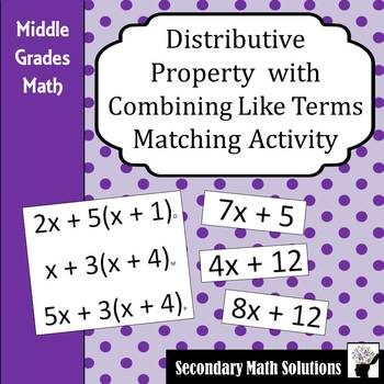Distributive Property with Combining Like Terms Activity (6.7C, 6.7D)