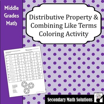 Distributive Property with Combining Like Terms Coloring Activity (6.7C, 6.7D)