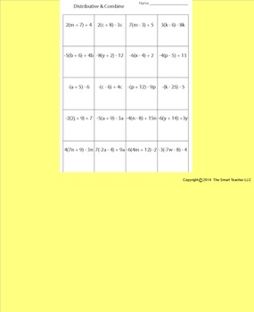 Distributive Property with Combining Like Terms Worksheet