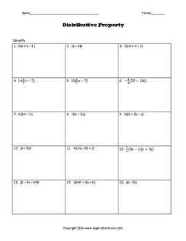 Distributive Property:  with Fractions Challenge Worksheet
