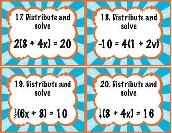 Distributive Property with Solving Equations Task Cards