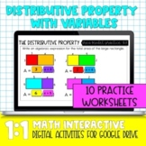 Distributive Property with Variables Practice for Distance Learning