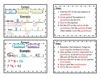 Distributive Property with Whole Numbers Foldable (Flippable)