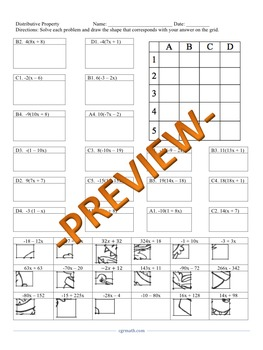Distributive Property with integers Puzzle Activity Worksheet (18 Problems)