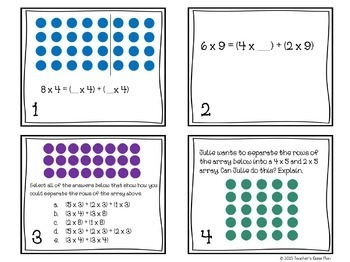 Distributive and Associative Properties of Multiplication Task Cards