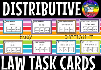 Distributive law task cards