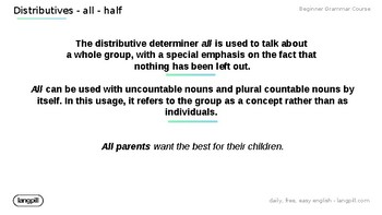 Distributives 'All' 'Half'  Powerpoint