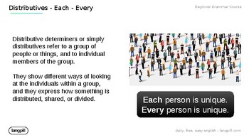 Distributives 'Each' 'Every'  Powerpoint