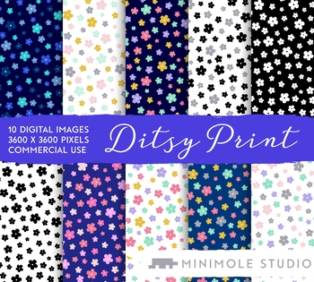 Ditsy Floral Pattern Digital Paper, Small Flower Print