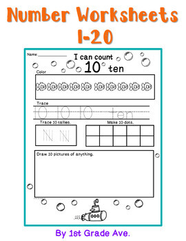 Number Workbook 1-20 Dive Into Numbers Ocean Theme!