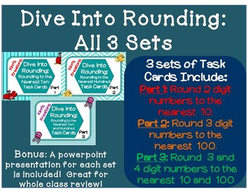 Dive Into Rounding Bundle: 3 Sets of Task Cards