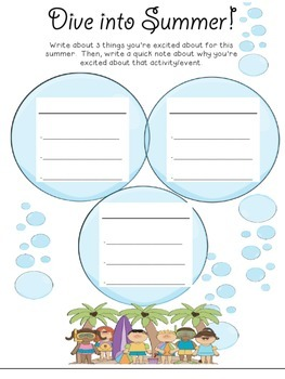 Dive Into Summer!  Student Writing/Essay/Paragraphs