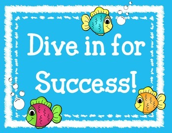 Dive in for Success Bulletin Board Set.  Fish Welcome Back Board New Year