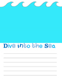 Dive into the Ocean- Writing Template frame