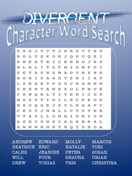 Divergent Characters Word Search