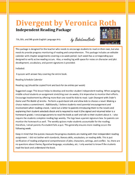 Divergent Independent Reading Package with Quizzes!