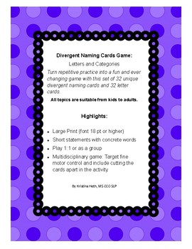 Divergent Naming Card Game with Categories and Letters by Kristina Heth