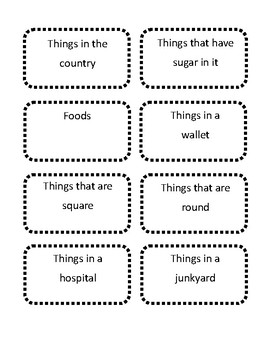 Divergent Naming Card Game With Categories And Letters By