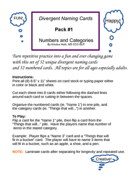 Divergent Naming Card Game with Numbers--Unlimited Combinations!