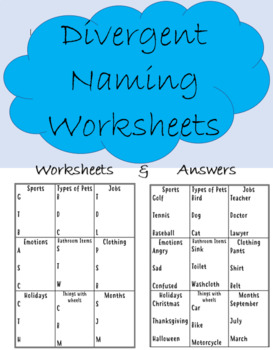 Divergent Naming Worksheet - with answers