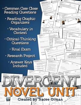 Divergent Novel Unit Bundle Common Core Aligned {Editable}