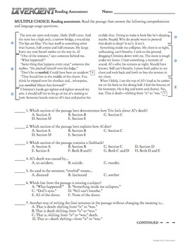 Divergent Novel Final Exam Common Core Aligned - Editable