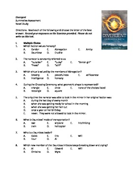 Divergent by Veronica Roth (Summative Assessment)