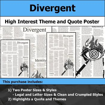 Divergent - Visual Theme and Quote Poster for Bulletin Boards