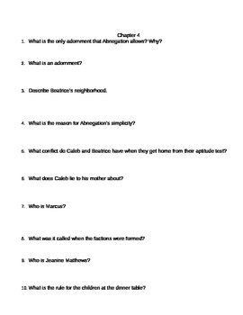 Divergent by Veronica Roth Chapter 3, 4, 12, 14, 26, & 27 Questions