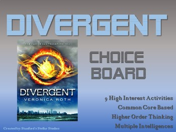 Divergent by Veronica Roth Choice Board Tic Tac Toe Novel