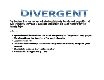 Divergent by Veronica Roth Literature Circle/Individual plan