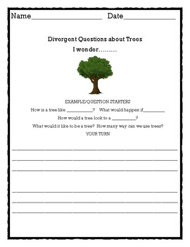 Divergent questions about trees goes with Science week 1