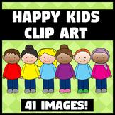 Diverse Happy Kids Clip Art