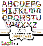 Diverse Kids Alphabet Font Clip Art