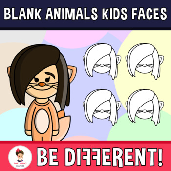 Diverse Kids Blank Animals Clipart Faces Pack (PartyHead Kiddos)