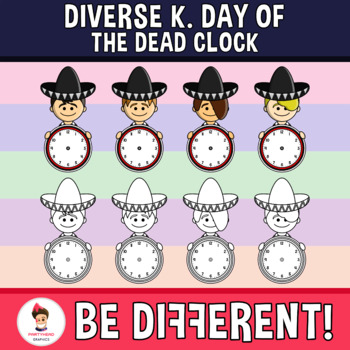 Diverse Kids Clipart Day Of The Dead Clock