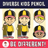 Diverse Kids Clipart Pencil Edition (PartyHead Kiddos)