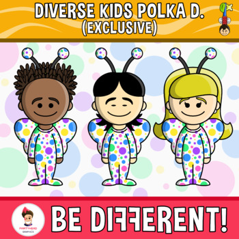 Diverse Kids Clipart Polka Dots Edition (PartyHead Kiddos - Exclusive)