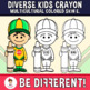 Diverse Kids Crayon Clipart Multicultural Skin Colored E. (PartyHead Kiddos)
