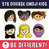 Diverse Kids Clipart Emoji Emotion Faces Pack (PartyHead Kiddos)