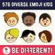 Diverse Kids Clipart Emoji Emotion Faces Pack (PartyHead Kiddos)