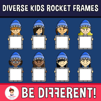 Diverse Kids Rocket Frames Clipart (PartyHead Kiddos)
