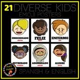 Diverse Kids Spanish Emoji Posters | Emotions in Spanish -