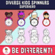 Diverse Kids Superhero Spinners Clipart (PartyHead Kiddos)
